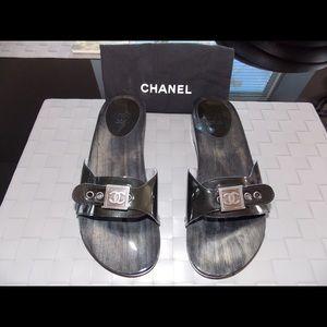 Authentic CHANEL Wooden Sandels Slides Mules